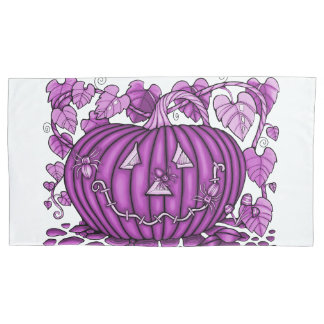 Magenta Spidery Pumpkin Pillowcase