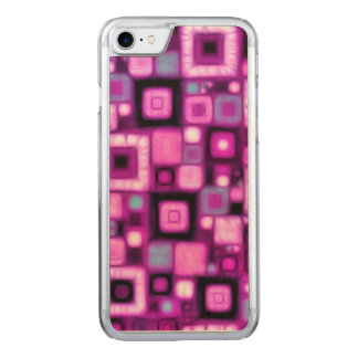Magenta Squares Carved iPhone 7 Case