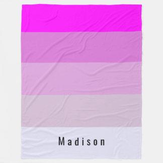 Magenta Stripes Personalized Custom Monogram Fleece Blanket