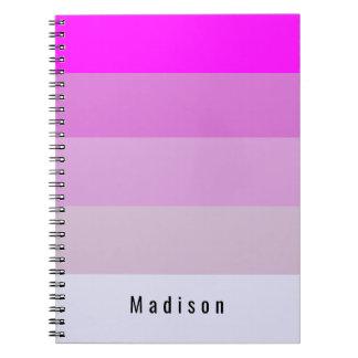 Magenta Stripes Personalized Custom Monogram Notebooks