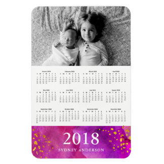 Magenta Watercolor and Gold | 2018 Photo Calendar Magnet