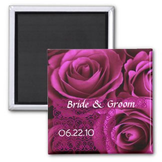 MAGENTA  Wedding Rose Bouquet with Lace Square Magnet