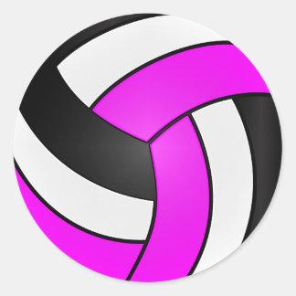 Magenta, White and Black Volleyball Classic Round Sticker