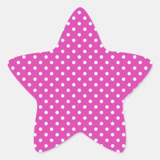 Magenta, White Polka Dots Star Sticker