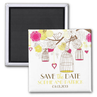Magenta & Yellow Birdcages Save the Date Magnet