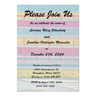 magenta yellow blue steps carnival ride abstract 13 cm x 18 cm invitation card