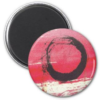 Magenta Zen Circle 6 Cm Round Magnet
