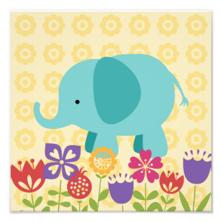 Maggie's Menagerie Nursery Prints: Teal Elephant Photo Print