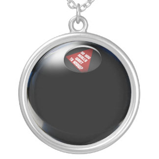 "Magic 8 Ball says, ""Do you really want to know?"" Round Pendant Necklace"