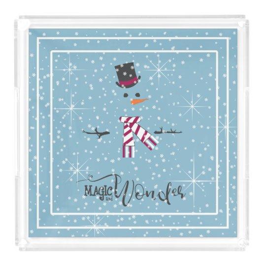 Magic and Wonder Christmas Snowman Blue ID440 Acrylic Tray