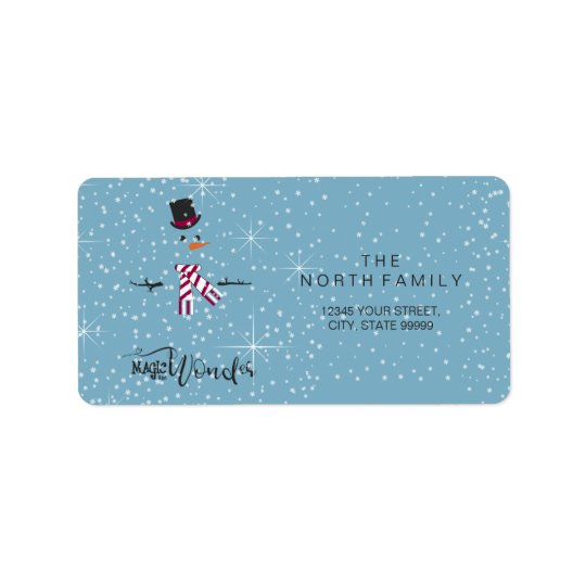 Magic and Wonder Christmas Snowman Blue ID440 Address Label