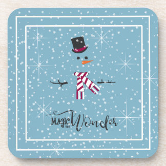 Magic and Wonder Christmas Snowman Blue ID440 Coaster