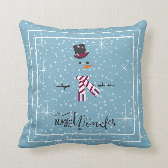 Magic and Wonder Christmas Snowman Blue ID440 Cushion