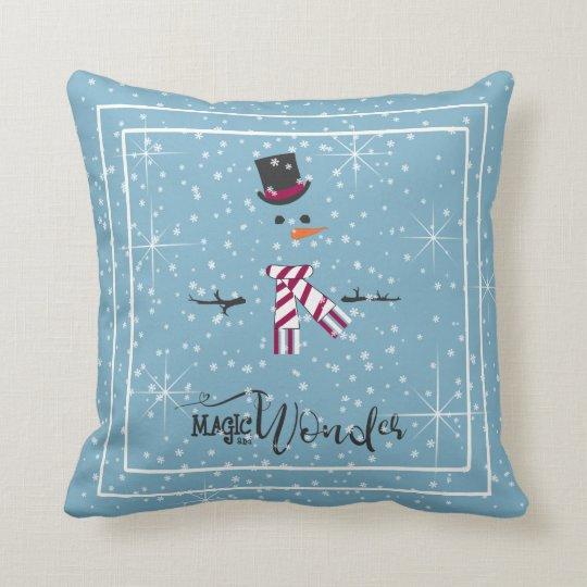 Magic and Wonder Christmas Snowman Blue ID440 Cushion