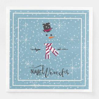 Magic and Wonder Christmas Snowman Blue ID440 Disposable Serviette