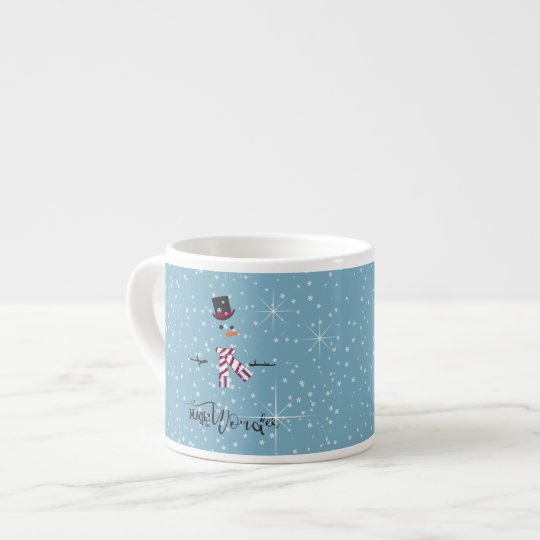 Magic and Wonder Christmas Snowman Blue ID440 Espresso Cup
