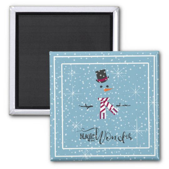 Magic and Wonder Christmas Snowman Blue ID440 Magnet