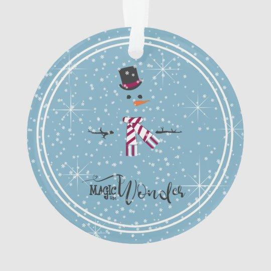 Magic and Wonder Christmas Snowman Blue ID440 Ornament
