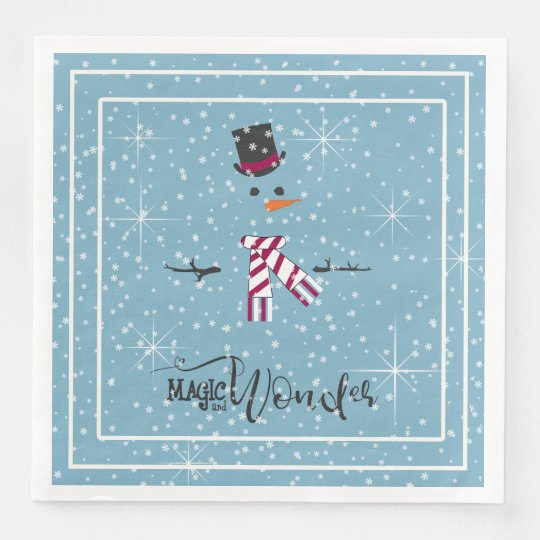 Magic and Wonder Christmas Snowman Blue ID440 Paper Napkin