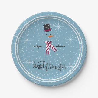 Magic and Wonder Christmas Snowman Blue ID440 Paper Plate