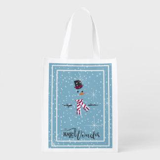 Magic and Wonder Christmas Snowman Blue ID440 Reusable Grocery Bag