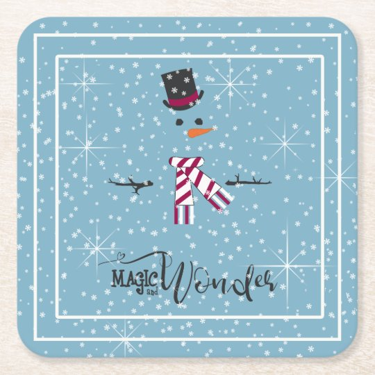 Magic and Wonder Christmas Snowman Blue ID440 Square Paper Coaster