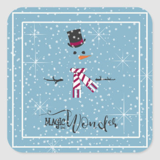 Magic and Wonder Christmas Snowman Blue ID440 Square Sticker