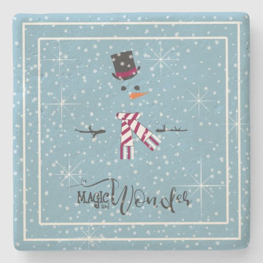 Magic and Wonder Christmas Snowman Blue ID440 Stone Coaster
