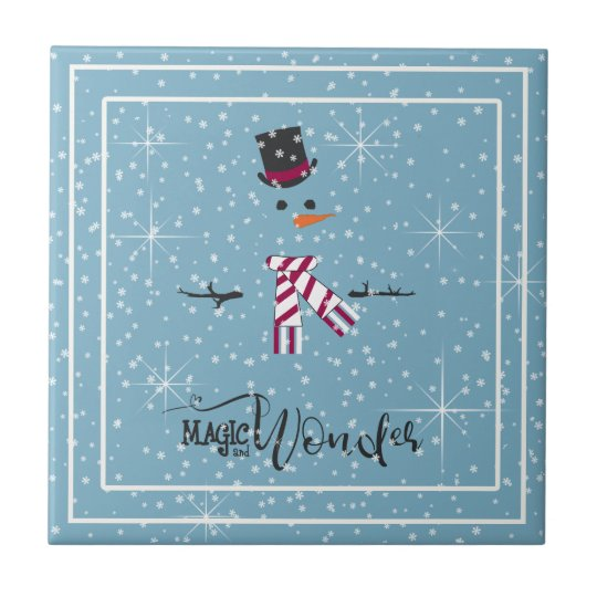 Magic and Wonder Christmas Snowman Blue ID440 Tile