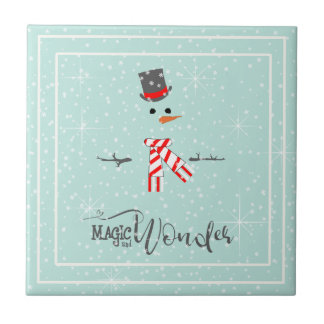 Magic and Wonder Christmas Snowman Mint ID440 Ceramic Tile