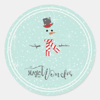 Magic and Wonder Christmas Snowman Mint ID440 Classic Round Sticker