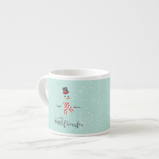 Magic and Wonder Christmas Snowman Mint ID440 Espresso Cup