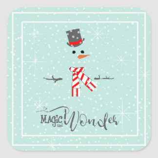 Magic and Wonder Christmas Snowman Mint ID440 Square Sticker