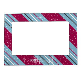 Magic and Wonder Christmas Stripes Blue ID440 Magnetic Frame