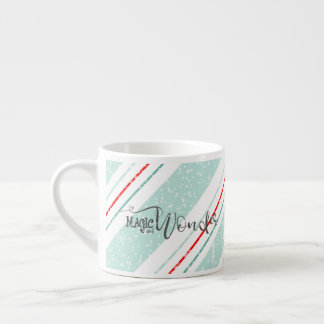 Magic and Wonder Christmas Stripes Mint ID440 Espresso Cup