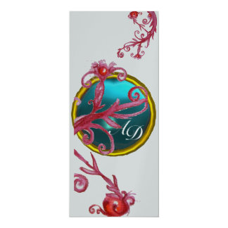 MAGIC BERRIES 4,MONOGRAM blue red purple silver 10 Cm X 24 Cm Invitation Card