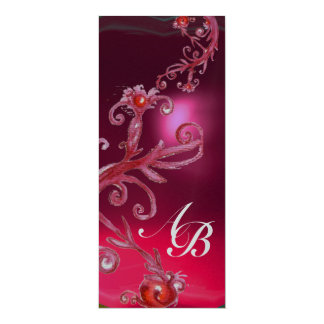 MAGIC BERRIES 4,MONOGRAM red ruby white silver 10 Cm X 24 Cm Invitation Card