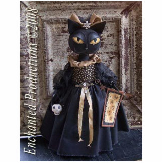 Magic Black cat Doll Photo Sculpture Pin