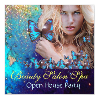 MAGIC BLUE BUTTERFLY Open House Party Monogram Card