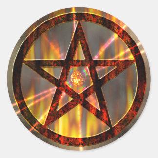 Magic Burning Pentagram Classic Round Sticker