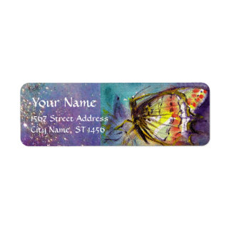 MAGIC BUTTERFLY IN BLUE GOLD SPARKLES RETURN ADDRESS LABEL