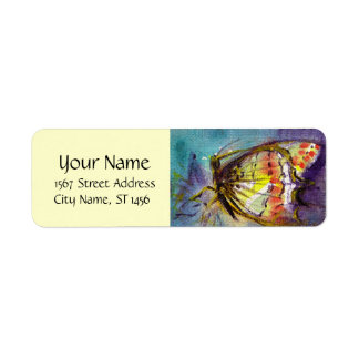MAGIC BUTTERFLY IN BLUE Ivory Return Address Label