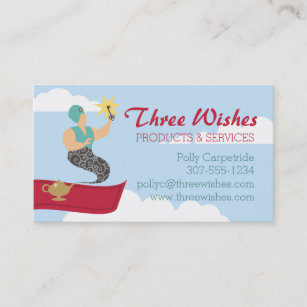 Magic carpet genie with key consulting solutions business card