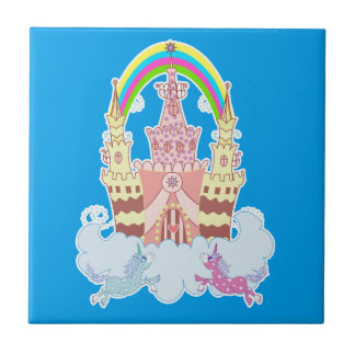 Magic Castle with cute unicorns illustration Small Square Tile