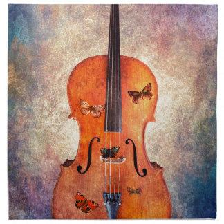 Magic cello with butterflies napkin