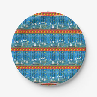 Magic Christmas background. Paper Plate