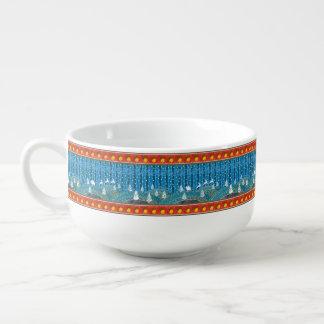 Magic Christmas background. Soup Mug