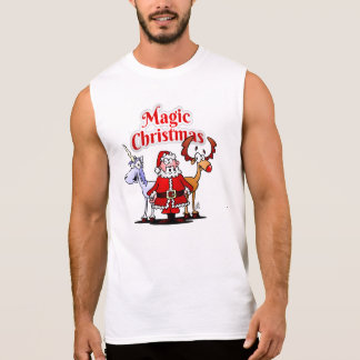 Magic Christmas with a unicorn Sleeveless Shirt