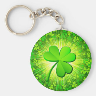 Magic clover basic round button key ring