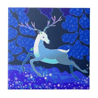 Magic Cute Christmas Deer with bell Ceramic Tile